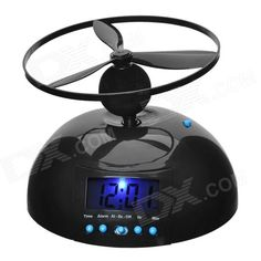 Creative Flying Lazy Alarm Clock w/ Propeller - When the alarm goes off, it flies around until you catch it so you can't just hit snooze.
