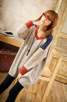 apricot oversized asian fashion long winter sweater with colorful details