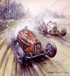 Tazio Nuvolari (Alfa Romeo) taking the lead from Von Brauchitch (Mercedes) in the 1935 German Grand Prix. (Print B). Read article http://j.mp/11WnutZ
