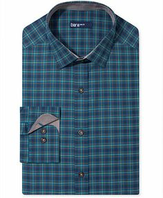 Bar III Dress Shirt, Carnaby Collection Slim-Fit Navy Plaid Long-Sleeved Shirt