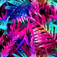 Colourful Neon Tropical by ahmetsenel Seamless Repeat Royalty-Free Stock Pattern Tropical Design, Tropical Art, Tropical Paradise, Neon Jungle, Tropical Fashion, Object Photography, Neon Aesthetic, Neon Party, 80s Neon