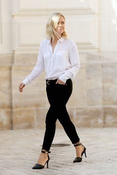 spring / summer - street chic style - casual outfits - business casual - office wear - work outfit - summer outfits - outfits for work - white shirt + black skinnies + black ankle strap stilettos + black belt