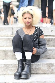 #blond #blondafro #afrohair #grey  #mode #moda #women #paris #look #streetstyle #streetview #street #style #offcatwalk on #sophiemhabille