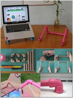 to make a computer laptop stand DIY :: PVC pipe Laptop stand Pvc Pipe Crafts, Pvc Pipe Projects, Diy Projects To Try, Diy And Crafts, Craft Projects, Diy Pipe, Wooden Crafts, Craft Tutorials, Diy Projects