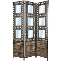 @Overstock - This wood, folding room divider features built-in picture frames and a distressed wood finish. A rustic design and an oxidized metal frame highlights this folding panel divider.http://www.overstock.com/Worldstock-Fair-Trade/Tall-Square-Pane-Shutter-Room-Divider-China/6483820/product.html?CID=214117 $281.00