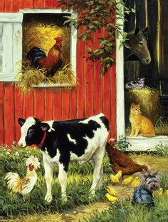 Barnyard Brood by Linda Picken ~ farm animals calf horse rooster hen chicks dog cats
