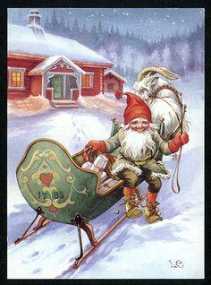 Vintage Swedish Christmas Card by Lars Carlsson ~ Orange Accents Swedish Christmas, Old Christmas, Old Fashioned Christmas, Christmas Gnome, Retro Christmas, Scandinavian Christmas, Christmas Greetings, Christmas Postcards, Primitive Christmas