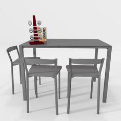 Mesa de cocina Logic con taburetes bajos todo en color gris aluminio