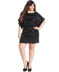 Jessica Simpson Plus Size Dress, Butterfly-Sleeve Sequin Striped