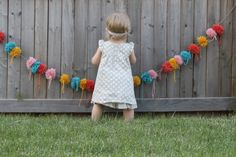 pom pom garland photo prop party or baby by UpsideDownFrowns, $34.00