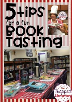 The Trapped Librarian shares book tasting ideas for your elementary library. Click through to read 5 Tips for Hosting a Fun Book Tasting Event! School Library Lessons, School Library Displays, Library Lesson Plans, Elementary School Library, Library Skills, Library Books, Elementary Schools, Library Ideas, Kindergarten Library