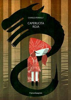 Exquisita ilustración de Caperucita y el lobo por Franco Spagnolo
