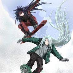 Vincent Valentine + Sephiroth : Snowboarding by timeless3wings on DeviantArt Vincent Valentine, Final Fantasy Vii, Detailed Image, Snowboarding, Wings, Angel, Deviantart, Seasons, Snow Board