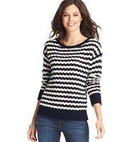 Textured Stripe Drop Shoulder Sweater