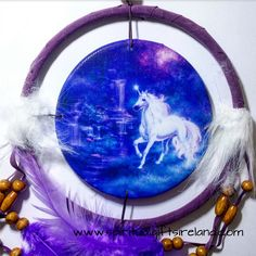 Hang this Moonlight Dancing Unicorn Mandala Dreamcatcher over your bed or sacred space to protect you from negative dreams, poor sleeping patterns and insomnia.  Each dreamcatcher has been delicately handmade with fabric, beads and feathers with a stunning unicorn design by Lisa Parker. Unicorns offer hope and inspiration.  They remind us to be honest with ourselves so that any decisions we make are for our higher good.  Unicorns pass easily through the elemental and spirit worlds.