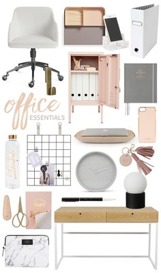 Office Essentials:  I really like the combination of white, blush and neutrals to create a polished and chic office space.