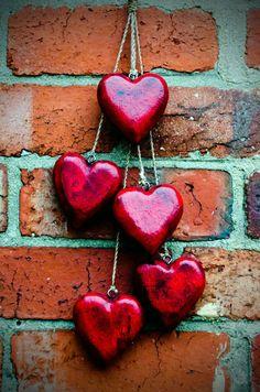 Red Heart On A Brick Wall. #love #hearts http://www.pinterest.com/TheHitman14/peace-love-%2B/