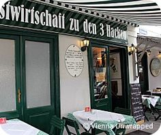 Gasthaus Zu den Drei Hacken: a rare find of a simple traditional tavern in the city centre. Great food, and nice vintage interiors. Try the pork roast (Schweinsbraten) with dumplings. Vienna Restaurant, Vintage Interiors, Vienna Austria, Pork Roast, Dumplings, Great Recipes, Den, Centre, Restaurants