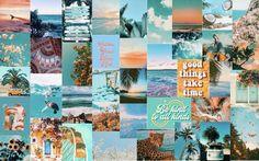 70 pcs Blue and Orange Beach Aesthetic Collage Kit