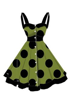 rockabilly Black and Green dress