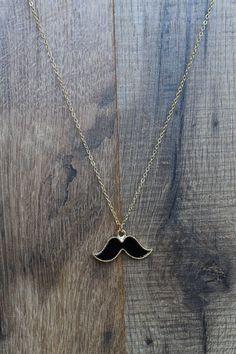 Mustache Necklace - Black