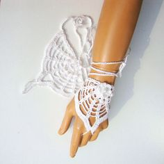 Crochet White Lace Gloves Fingerless Hand jewelry by Pasin on Etsy, $18.00