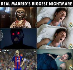 Real Madrid's nightmare is the whole Barça team not only Messi Funny Football Memes, Soccer Jokes, Funny Sports Memes, Funny Marvel Memes, Sports Humor, Football Humor, Cristiano Ronaldo, Messi Vs Ronaldo, Lionel Messi