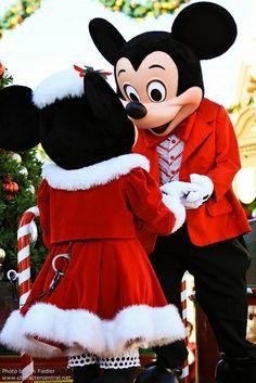 Mickey and Minnie celebrate Christmas.