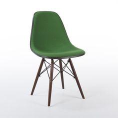 Green 1 x Single Herman Miller Vintage Original Eames Upholstered Side DSW Chair