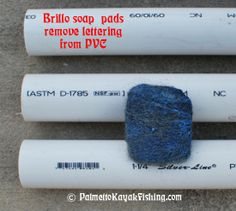 Once the PVC segments are cut, use Brillo soap pads and some water to remove the lettering from the PVC. My dad taught me this trick about 17 years ago when he would make furniture-grade rod holders (Bottle Rocket Pvc Pipes) Pvc Pipe Crafts, Pvc Pipe Projects, Diy And Crafts, Projects To Try, Creative Crafts, Kayak Fishing, Fishing Tips, Fishing Stuff, Kayak Crate