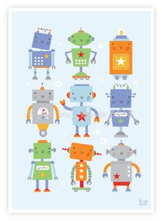 ROBOT PRINT baby boy children room wall art by TheInkHouse