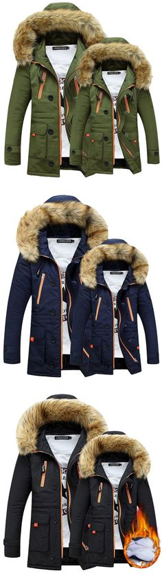 Long Sleeve Thicken Hooded Pockets Winter Cotton Warm Coat