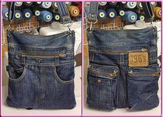 自分用にファスナーポケットいっぱいのショルダー【ジーンズリメイク】【Gパンバッグの作り方】 | Gパンをバッグにリメイク【7つのコツ】で上手に出来る♪デニム・ジーンズバッグの作り方 Denim Purse, Denim Jeans, Diy Wallet Bag, Love Jeans, Handmade Purses, Recycled Denim, Quilted Bag, Fabric Bags, Diy Clothing