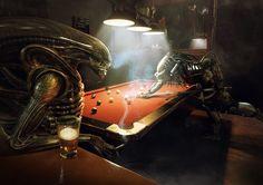 「決着はビリヤードでつけてやるっっ!!」。プレデターのちょっぴり上げた足がカワイイ。 2D Art Andre McGrail Alien Vs Predator Pool