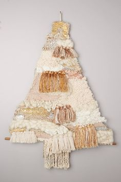 Anthropologie Fringed Tree Tapestry, Mixed Media Textured Christmas Wall Decor