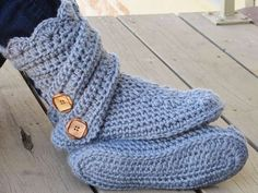 Pantofole all'uncinetto fai da te - Pantofole azzurre
