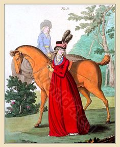 The Gallery of Fashion Vol by Nikolaus von Heideloff. Fashion in England from April 1795 To March Georgian Regency, neoclassical costumes. Historical Costume, Historical Clothing, Historical Dress, Female Clothing, Beaver Hat, Baroque, Riding Habit, 18th Century Fashion, Regency Era