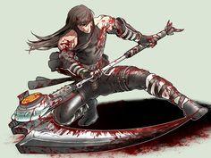 Eclipse scythe by shinnji-tyan on DeviantArt Anime Warrior, Ninja Warrior, Samurai Warrior, Arte Ninja, Ninja Art, Character Art, Character Design, Character Ideas, Ryu Hayabusa