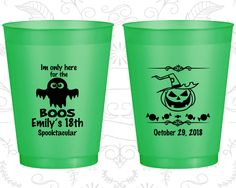 18th Birthday Frosted Cups, Halloween Birthday, Pumpkin Birthday, Frosted Birthday Cups (20199)