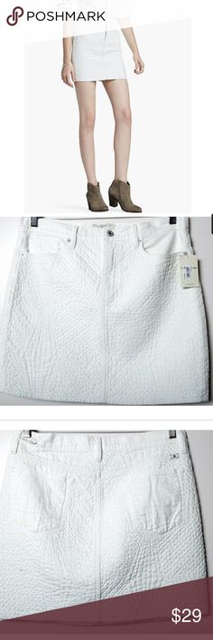 NEW Lucky Brand White Casual Quilted Denim Skirt NEW NWT Lucky Brand White Casual Quilted Denim Womens Skirt Sz 32 total length is 27 inches, waist is 34 inches unstretched Lucky Brand Skirts Mini