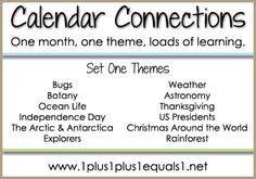 A collection of free printables to use for calendar time in your homeschool.  Many themes to choose from, and FREE!  From www.1plus1plus1equals1.net