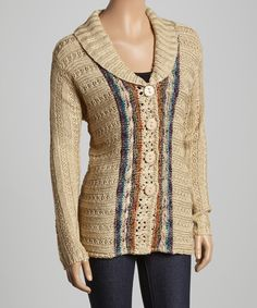 Look at this Gizel Beige Shawl Collar Cardigan on #zulily today!