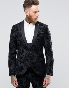 Shop for Noose & Monkey Skinny Tuxedo Jacket In Flocked Floral with Stretch at ShopStyle. Now for Sold Out.