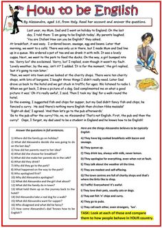 How to be english worksheet - free esl printable worksheets made by teachers English Worksheets For Kids, English Lessons For Kids, Reading Worksheets, Printable Worksheets, Grammar Worksheets, English Reading, English Writing Skills, English English, Story In English