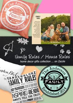 Home sweet home ... Family love rules in this custom home decor collection of gifts that includes customizable typography throw pillows, wall art and wall clocks | click to shop the collection ... on Zazzle #homesweethome #familyrules #houserules