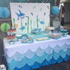 Festa Sereia- Ideias Criativas e muitos DIY 2nd Birthday Party Themes, Boy Birthday Parties, Baby Birthday, Birthday Ideas, Baby Shark, First Birthdays, Shark Party, Ocean Party Decorations, Nail Polish