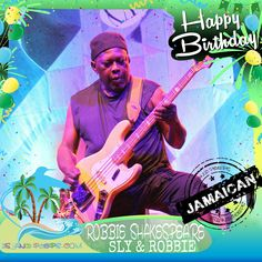 """Happy Birthday Robbie Shakespeare!!! Half of the musical production powerhouse """"Sly & Robbie"""" was born in Jamaica!!! Today we celebrate you!!! #RobbieShakespeare #islandpeeps #islandpeepsbirthdays #SlyandRobbie #TaxiGang #MusicProducers #Reggae #Jamaica"""