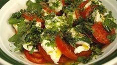 CAPRESE SALAD w heirloom tomatoes, buffalo mozzarella, cupped parsley, torn basil, EVOO, sherry vinegar (Guy Grossi, SBS Food)