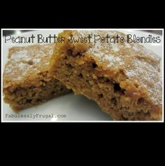 Peanut Butter Sweet Potato Blondies. A peanut-buttery cake-like treat that you don't have to feel too bad about devouring!