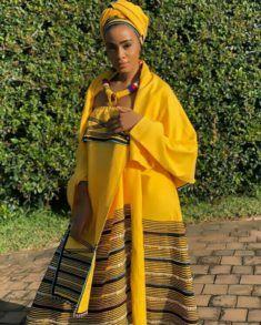 Thobeka Majozi In Yellow Xhosa Umbhaco Traditional Attire With Doek and Beaded Neckpiece Xhosa Attire, African Attire, African Wear, African Fashion Dresses, African Dress, African Clothes, Traditional Wedding Attire, Traditional Outfits, Traditional Weddings